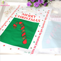 100pcs Christmas Crutches Digging Holes Wrapping Bags Gifts Clothes Shopping OPP Bags