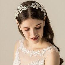 Jonnafe gümüş renk yaprak gelin tacı kafa bandı kadın balo saç taç İnci takı kristal düğün başlığı saç aksesuarları