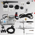 OPHIR PRO Double Action Air Brush Gun & Single-Action Airbrush Kit with Air Compressor for Nail Makeup Cake Model _AC089+071-074
