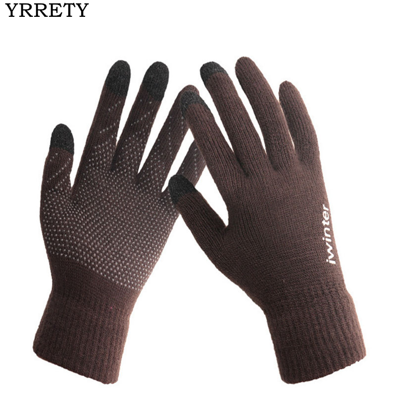 YRRETY Fashion Men Women Knitting Gloves High Quality Touched Screen Upgrade Non Slip More Winter Warm Soft Cotton Thick Gloves
