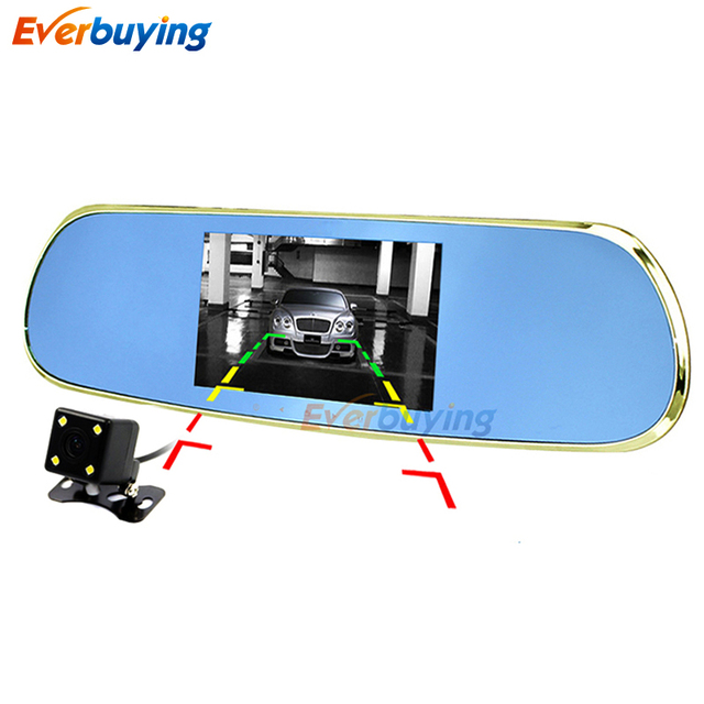 "5"" Dual Lens Car DVR Rearview Mirror Camera Android 4.4 Allwinner A33 Quad-core Full HD 1080P video recorder camera with GPS"