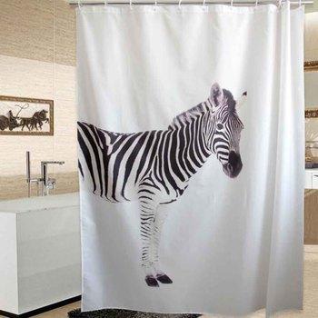 WINLIFE Animals White Waterproof Shower Curtain Polyester Thicken Machine Washable Bath Curtain 180cmW*200cmH