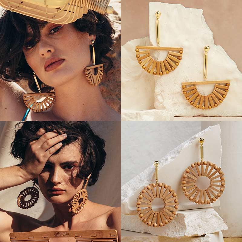 Earrings Original Dvacaman Cult Gaia Round Fan Wooden Big Drop Earrings Women Boho Handmade Woven Rattan Jewelry Girl Summer Party Dangle Earrings Jewelry & Accessories