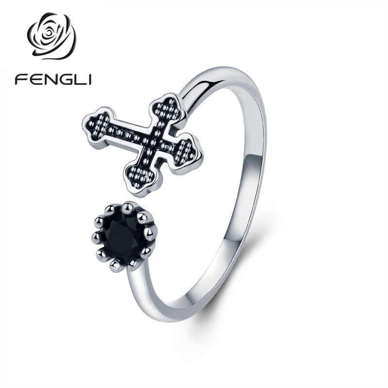 Vintage หินสีดำแท้ 100% แท้ 925 แหวนเงินหินธรรมชาติบุคลิกภาพข้ามเครื่องประดับแหวน Rock