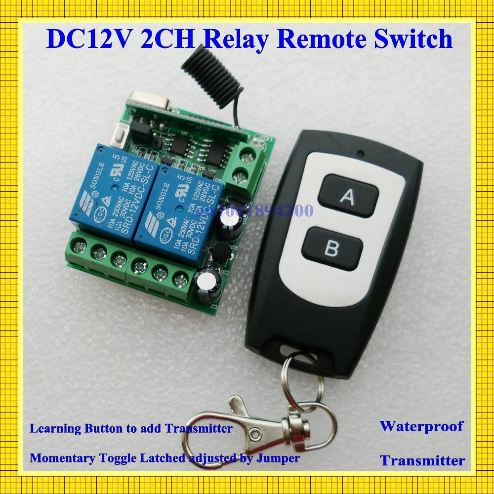 Free Shipping DC 12V 2CH Mini Remote Switch 10A Relay Contact NO COM NC Wireless Switch Lighting Button Power Line Remote ON OFF free shipping elecall 10pcs lot jqx 15f 1z dc48v miniature electromagnetic relay no 30a nc 20a 240vdc 28vdc 48vdc power relay