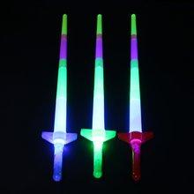 Новый Радужный лазерный меч раздвижные светящиеся игрушки мигающие