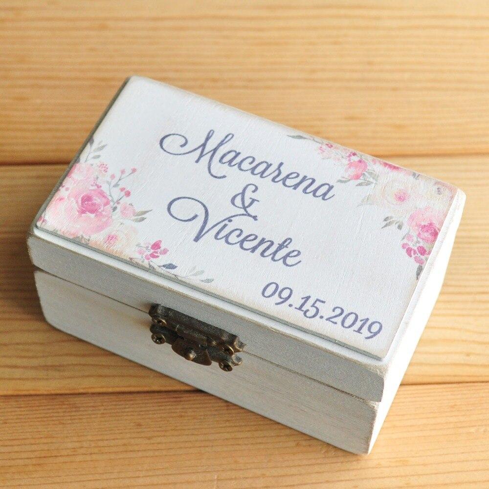 Wedding Decor Personalized Wooden Ring Holder Box Customized Wedding Ring Box