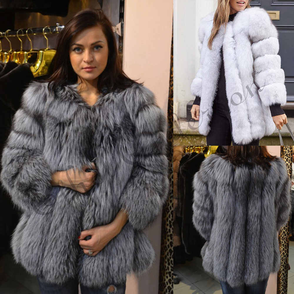 7ff15845e NEW Winter Natural Silver Fox Fur Coats Long Women Whole Skin Genuine  Leather Female Jacket in
