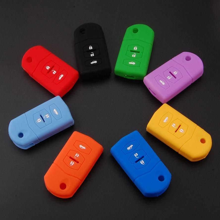 BBQ@FUKA 50PCS Mix color Silicone Remote Key Case Shell Fob Fit for Mazda 2 3 5 6 MX-5 RX-8 CX-5 CX-9