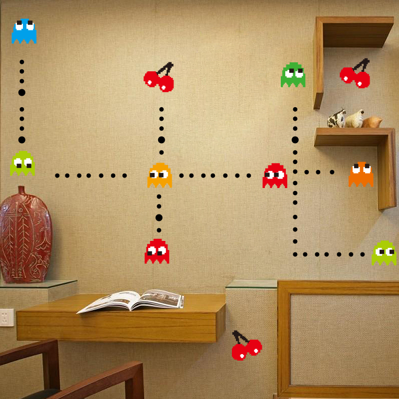funlife pac man pac man removable peel n stick wall decal pacman retro wall stickers play time pinterest wall