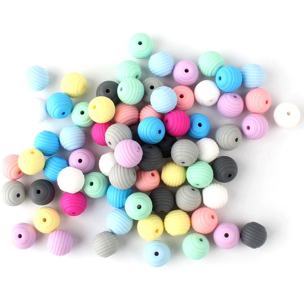 30pcs Silicone Round Spiral Beads 15mm Baby Teething Threaded Beads Food Grade Beads BFA Free Beads Baby Teethers