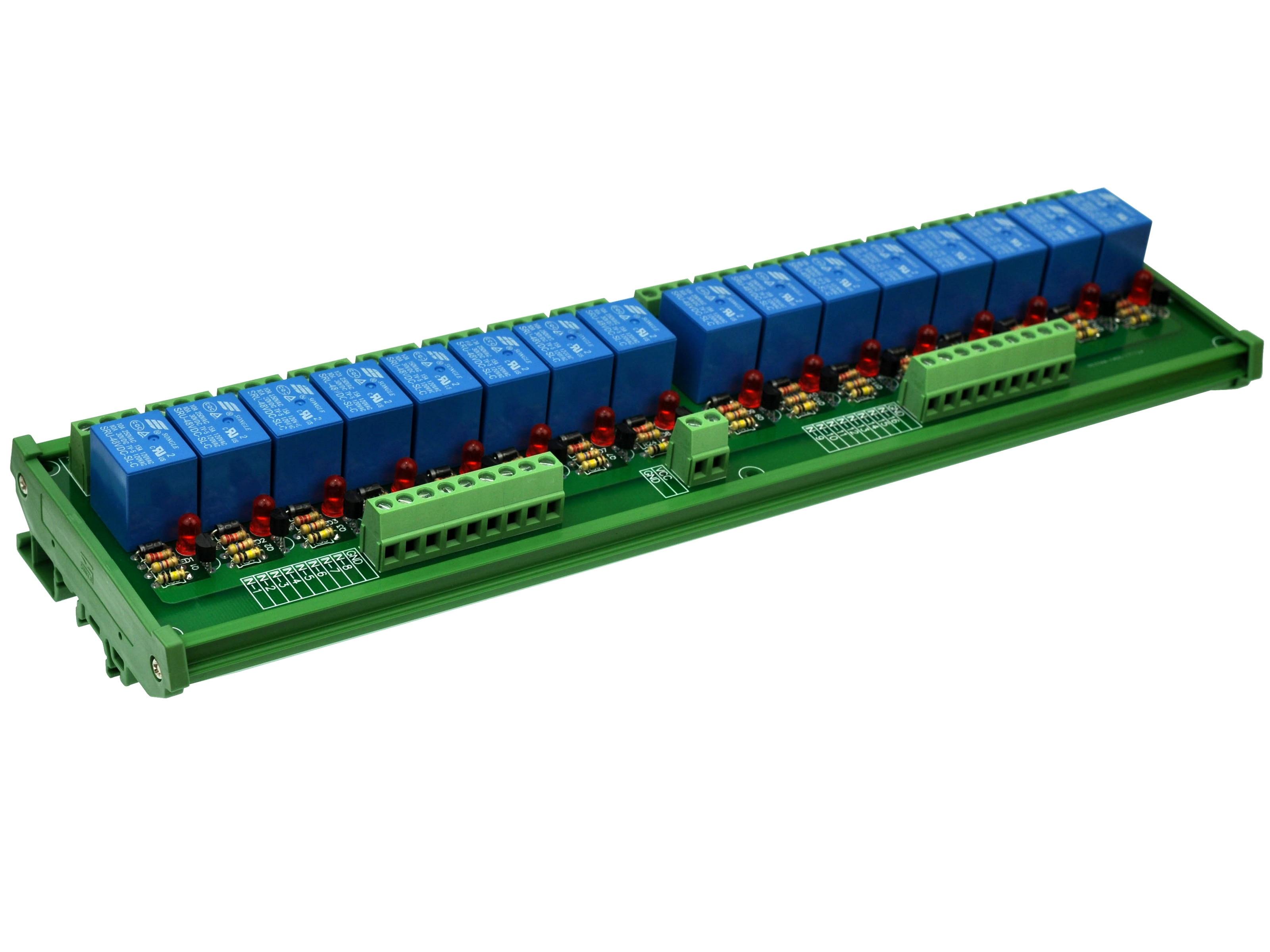 DIN Rail Mount 16 SPDT Power Relay Interface Module,  10A Relay, 48V Coil.