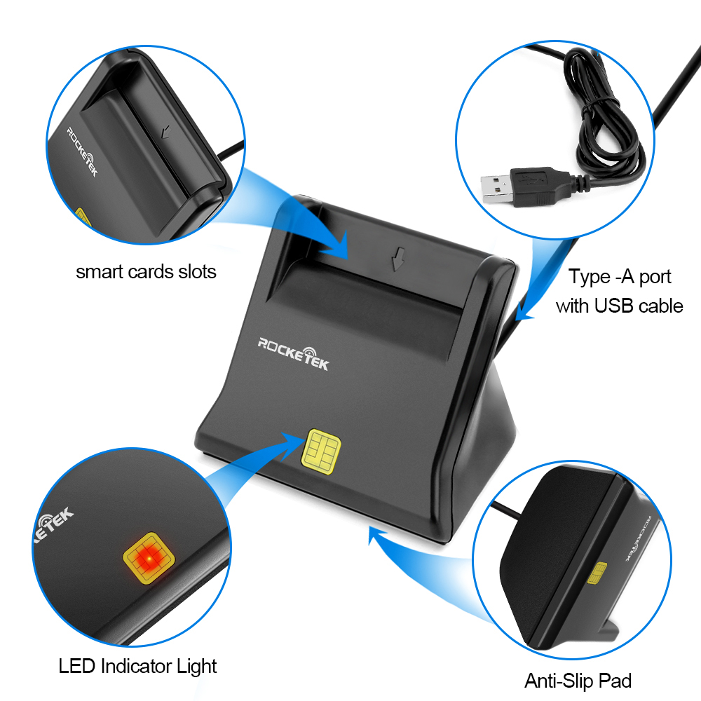 Image 5 - Rocketek USB 2.0 Smart Card Reader CAC ID/Bank card,sim card cloner connector cardreader adapter pc computer laptop accessories-in Card Readers from Computer & Office