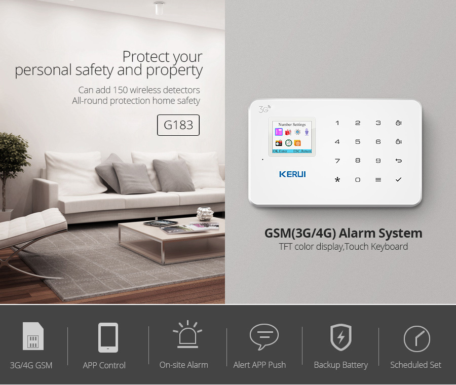 KERUI NEW G183 WCDMA 3G Wireless Home Security GSM 3G Alarm system APP Remote Control Burglar Arm