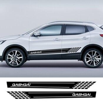 Car side Skirt Sticker Auto Vinyl Wrap Racing Long Stripes Decals Automobiles For Nissan Qashqai j11 j10 Tuning Car Accessories 1