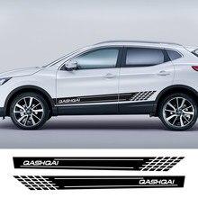 Auto seite Rock Aufkleber Auto Vinyl Wrap Racing Lange Streifen Decals Autos Für Nissan Qashqai j11 j10 Tuning Auto Zubehör