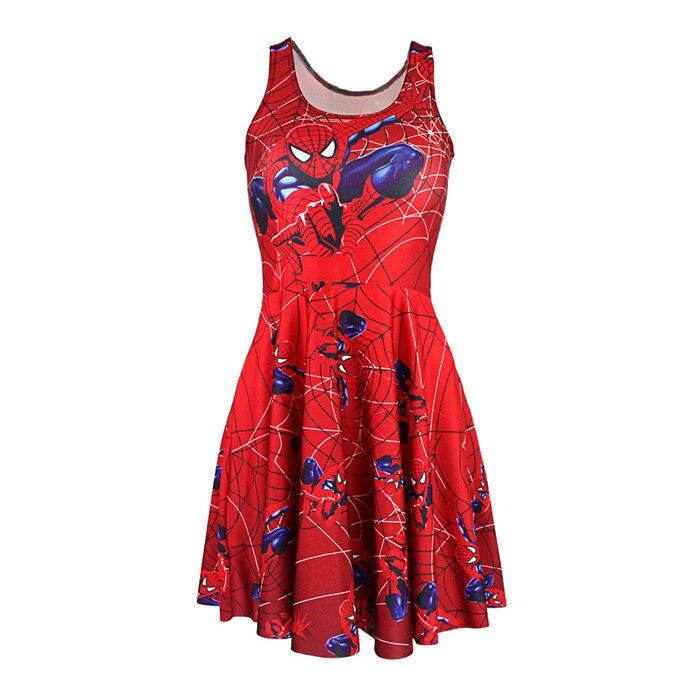 Adult Women Red <font><b>Spiderman</b></font> Web <font><b>Costume</b></font> <font><b>Reversible</b></font> Skater Pleated Dress Female Spidergirl Fancy Dress Cosplay Carnival <font><b>Costumes</b></font>
