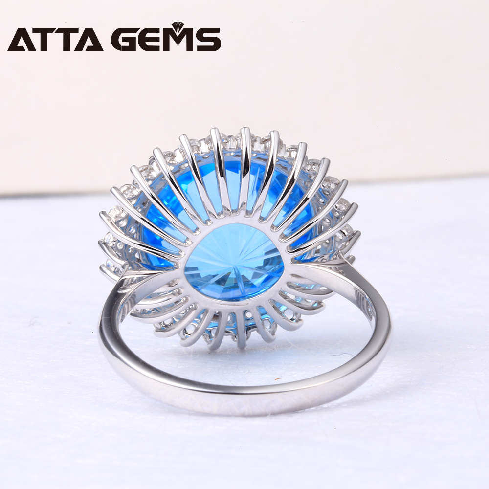 Natural Blue Topaz Real 18 White Gold Ring 12 Carats Natural Blue Topaz Firework Cutting Real Diamond Top Quality Ring