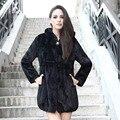QUEENFUR 2016 New Genuine Mink Fur Casaco Com Capuz de Vison Verdadeiro pele Roupas De Peles De Vison Longo Casaco de Inverno Quente Plus Size S-6XL