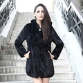 QUEENFUR 2016 New Genuine Mink Fur Coat With Hood Real Mink Fur Long Jacket Warm Winter Mink Fur Garments Plus Size S-6XL