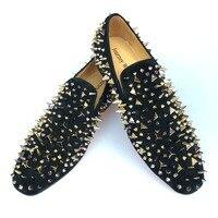 Новый ручной работы мужские черные кожаные шлепанцы лоферы с золотыми шипами красной подошвой Мужская обувь на плоской подошве вечерние пл