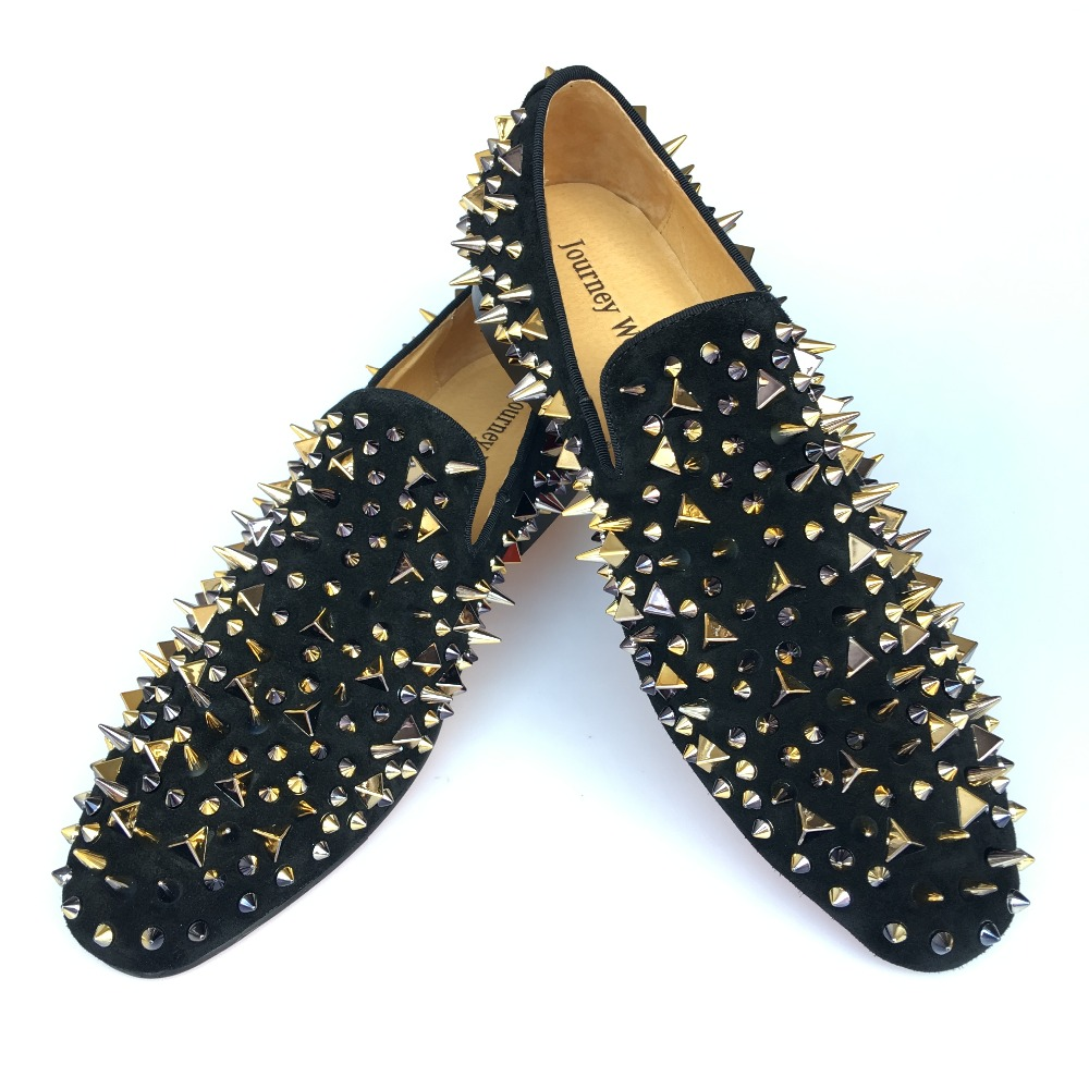 New Handmade Men Black Leather Slippers Loafers Shoes With Gold Spikes Red Bottom Men