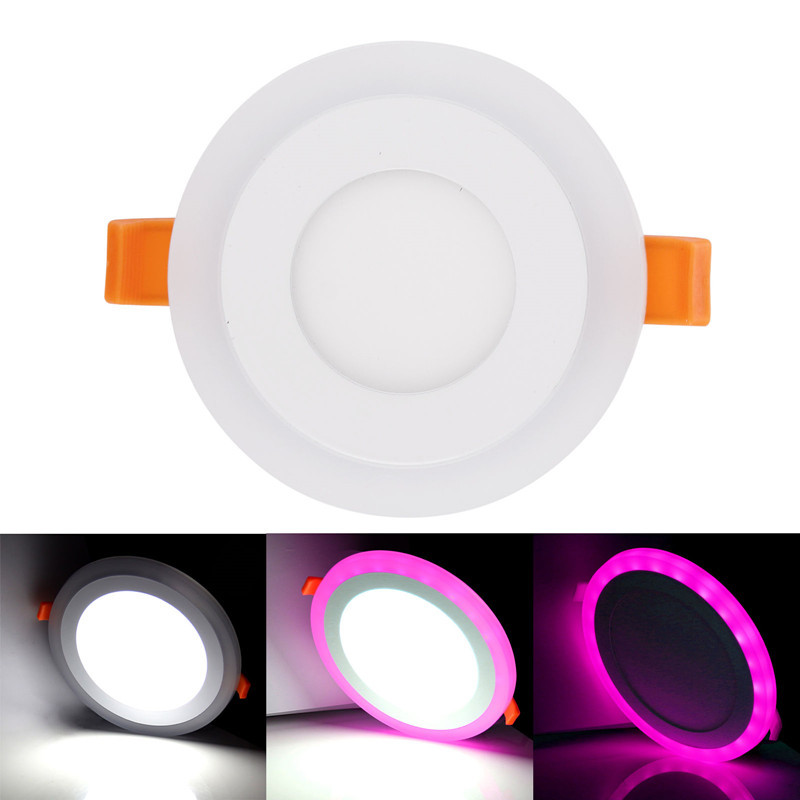 6pcs White + RGB LED Panel Light 9W Recessed Ceiling Downlight 3 Models Acrylic Panel Lamp with Remote Control Without power 9 24w recessed led horizontal down light with external driver ac100 240v color white 2373lm 18pcs lot promotion free shipping