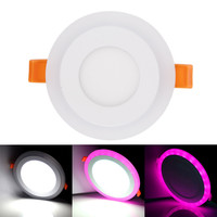 6pcs White + RGB LED Panel Light 9W Recessed Ceiling Downlight 3 Models Acrylic Panel Lamp with Remote Control Without power