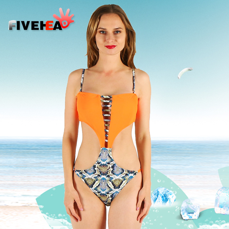 one-piece women swimwear sexy sling halter printed orange solid color large size bathing swimsuit push up female patchwork trendy halter fluorescence color leopard printed one piece swimwear for women