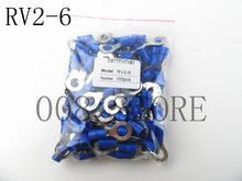 RV2-6 Biru Cincin insulated terminal Kabel Kawat Konektor 100 PCS/Pack suit 1.5-2.5mm Listrik Crimp Terminal RV(China)