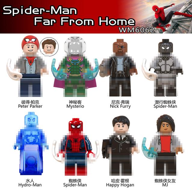 Marvel Spiderman Far From Home Mysterio 4 Elemental Anti Venom Dark Spider Man Carnage Gwen man Building Blocks Toys Figures