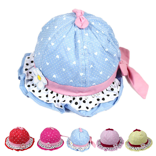 Newborn Outdoor Floral Bowknot Bonnet Round Dot LaceBob Sun Hats Hiking  Fishing Caps Baby Gir Bucket Hat aa796017ece