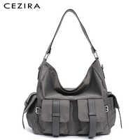 CEZIRA Large New Women Handbags Fashion Vegan Leather Hobo Double Flap Pockets Shoulder Bags Microfiber Functional Cross body