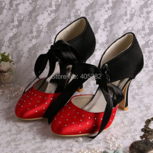 (20 Colors)New Style Black and Red Satin Lace-up Evening Party Shoes with Small Rhinestones