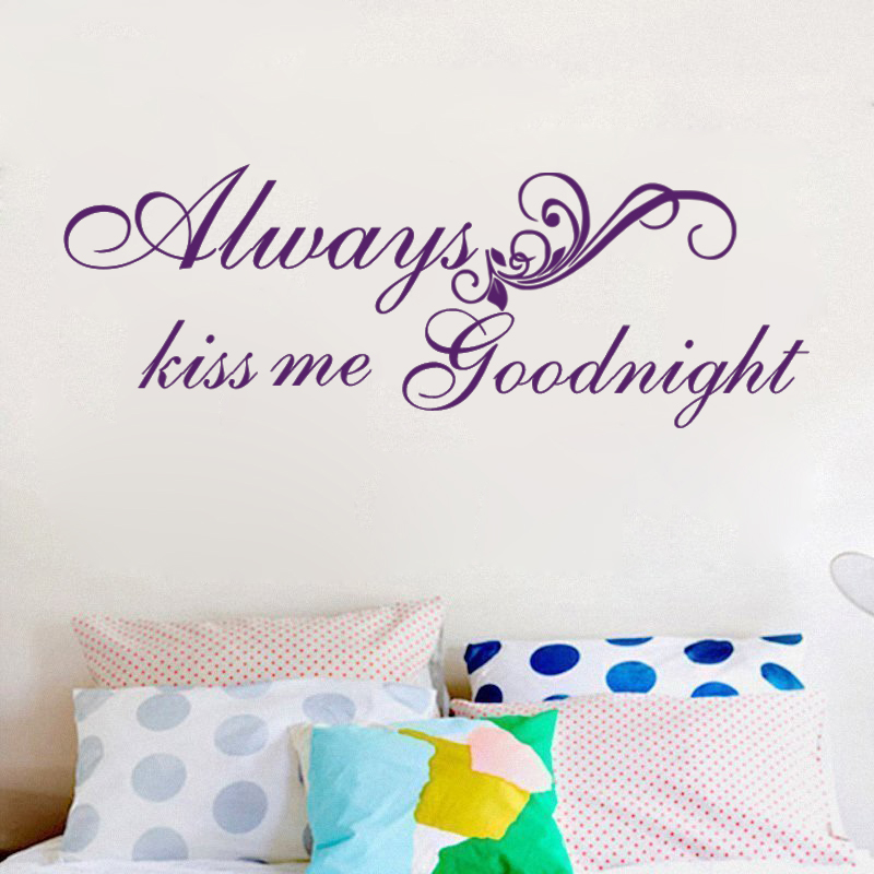 X009 Vinyl Wall Quote Always Kiss Me Goodnight Wall Saying Valentine Love  Quote Decal Wall Sticker (Black, X Large) In Wall Stickers From Home U0026  Garden On ...
