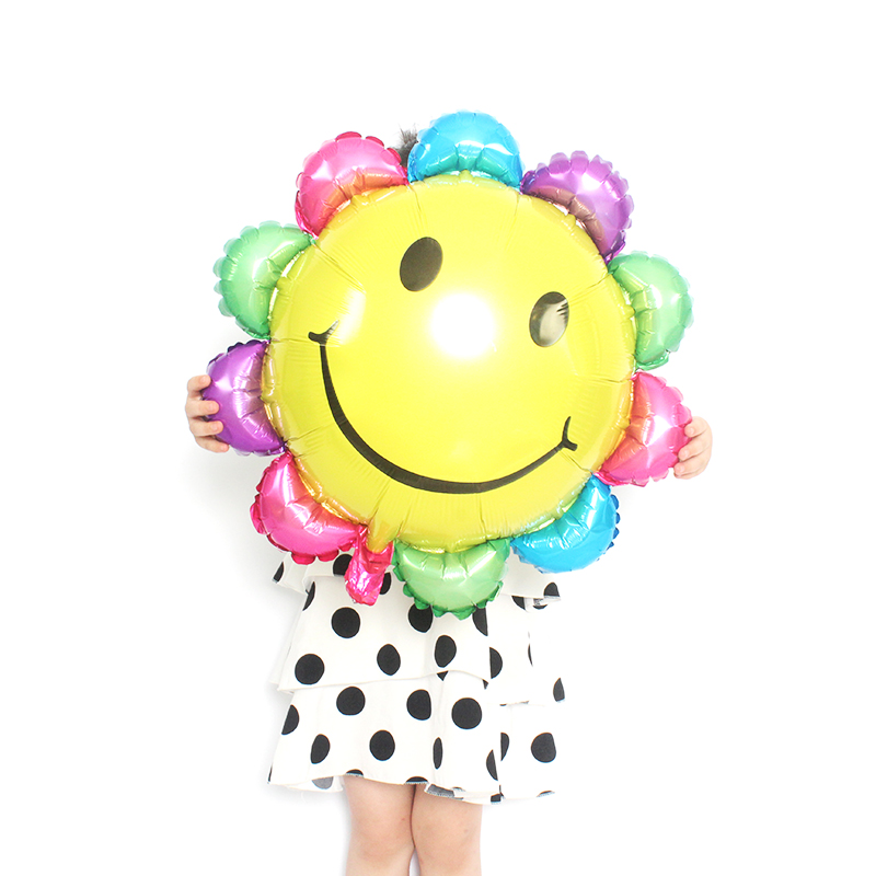 Smile Sun Flower Foil Balloons Wedding Happy Birthday Decoration Kids Gifts Flowers Baloon Party DecorationS Anniversaire in Ballons Accessories from Home Garden