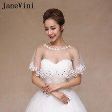 JaneVini Trắng Cô Gái Ren Bolero Bridal Khăn Choàng Evening Wedding Dresses Mũi Ngắn Kết Thúc Tốt Đẹp Tắt Shoulder Pha Lê Ngọc Trai Phụ Nữ Nhún Vai