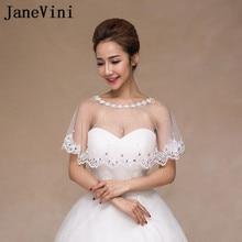 JaneVini białe dziewczyny koronkowe bolerko ślubne szale wieczorowe suknie ślubne Cape krótkie okłady Off ramię kryształowe perły kobiety wzruszając ramionami
