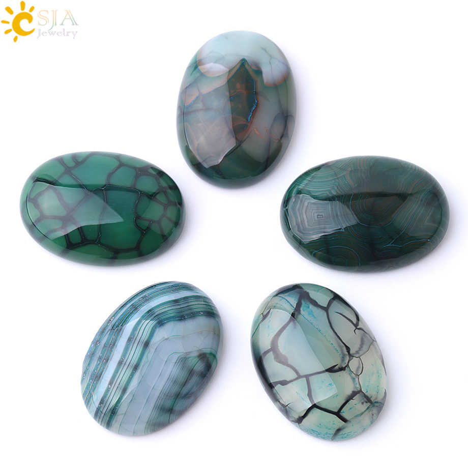 CSJA Natural Stone Green Dragon Vein Agates Cabochon Beads for Handmade Jewelry Making Needlework 30x40/22x30/18x25/15x20mm F840(China)