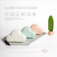 Creative Silent Luminous Electronic Clock LED Intelligent Alarm Clock Control Bedroom Cloud Clock Magnet Adsorption Wall Bell wi