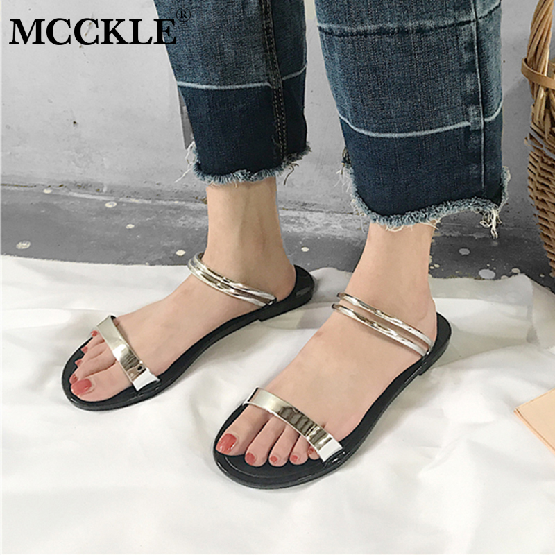 MCCKLE Women Casual Flat Sandals Female Open Toe Two Ways Wear Back Strap Jelly Shoes Woman Leisure Comfortable Shoe Flats mcckle new fashion women s summer comfortable shoes open toe black buckle female casuals flat platform sandals woman shoes