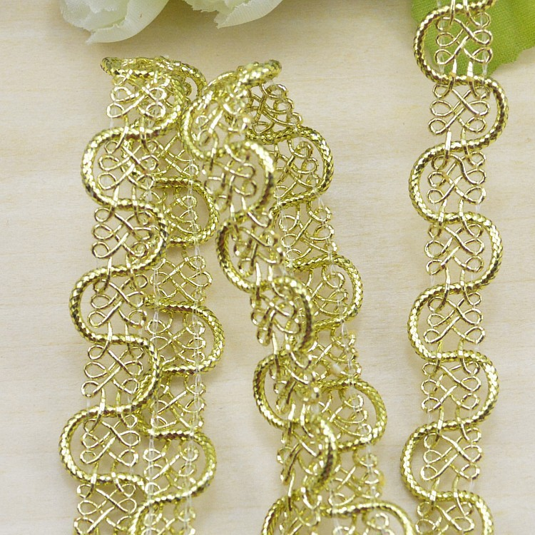 Wholesale! New arrival 1.5Cm 30m/lot gold silver diy decoration polyester lace trim ribbons, fashion S-shape lace trimming W021