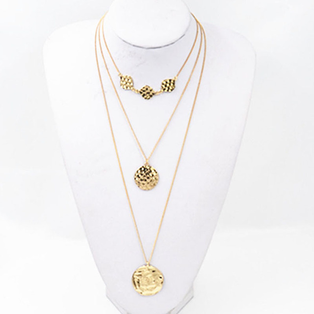 dd7dc2db1f4 Fashion Three Mulit-layer Long Gold Chains Statement Necklace Women Bump  Round Coins Pendant Necklace Choker Jewelry colar