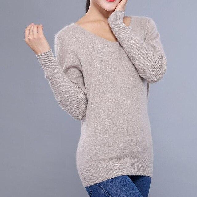 2019 di Autunno della Molla di Modo di Grandi Dimensioni Donne Maglione  Pullover Con Scollo A V 979a4d30d8e