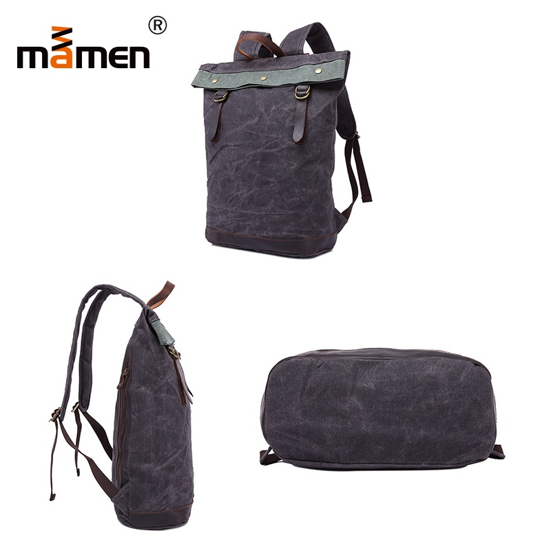 Mamen Shoulder Bag 33*15*46cm Cowhide Handle Backpack Student Women Shopping Outdoor Travel Camera Bag 0.9kgs 2018 New