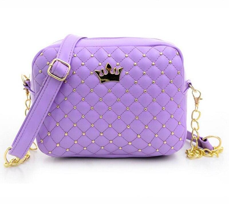 78ceba7b3e9e Для женщин сумка модные женские туфли Курьерские сумки заклепки цепи Сумка  Высокое качество искусственная кожа Crossbody Корона Сумки jie-077
