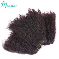 Monstar 1/3/4 Bundle Afro Kinky Curly Coily Hair 100g/pc Natural Color 10 26 inch Peruvian Weave Remy Human Hair Bundle Deal