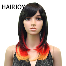 HAIRJOY Women Synthetic Hair Wig Muti Color Roots Medium Length Straight Wigs  8 Colors Available недорого