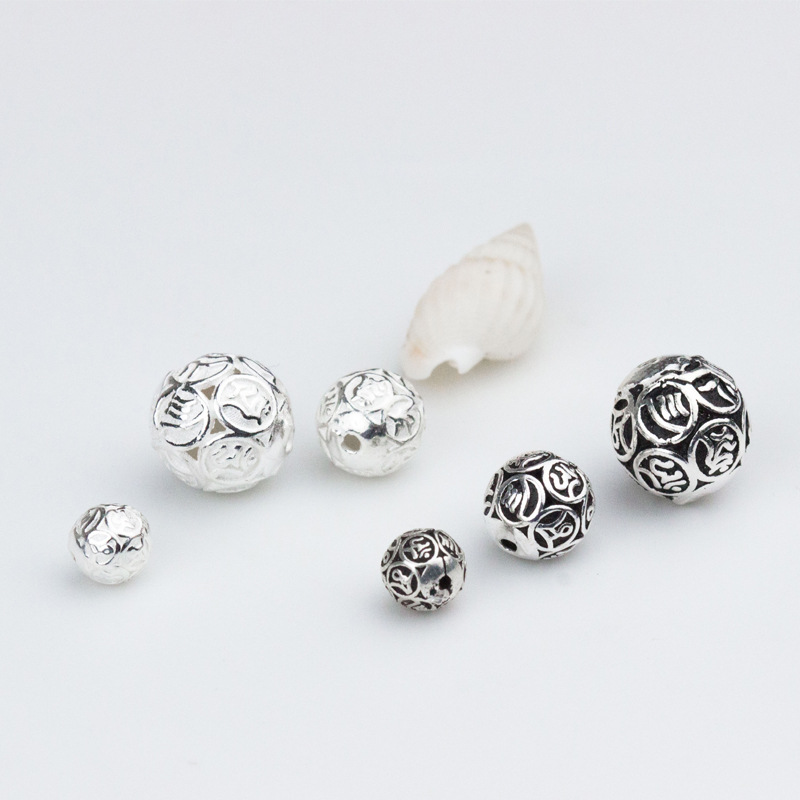 6mm round  ball charm sterling silver 925