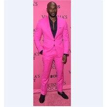 Custom Made New Arrival Groomsmen Shawl Lapel Groom Tuxedos Hot Pink Men Suits Wedding Best Man (Jacket+Pants) C28